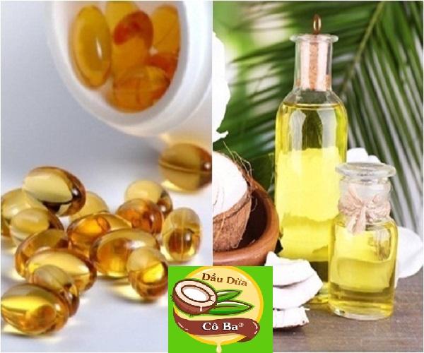 dầu dừa kết hợp với vitamin e chóng rạn da