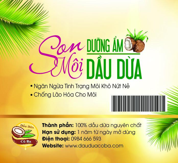 son môi dưỡng ẩm dầu dừa